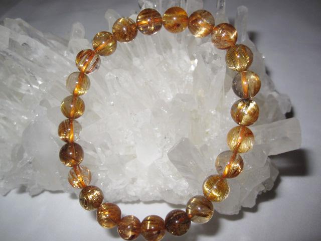 プレミアム天然石ブレスレットタイチンルチルクォーツ